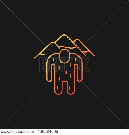 Yeti Gradient Vector Icon For Dark Theme. Mysterious Ape-like Creature. Nepali Folklore. Abominable