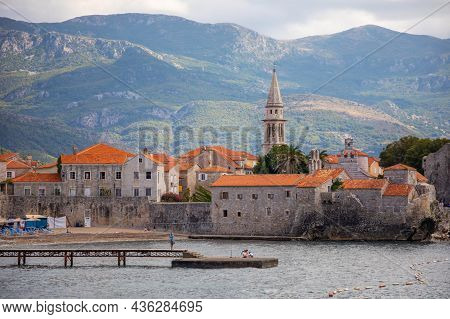 Budva, Montenegro - September 18, 2021: Landscape Of Old Town Budva. Ancient Walls And Tiled Roof Of
