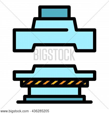 Manual Press Machine Icon. Outline Manual Press Machine Vector Icon Color Flat Isolated