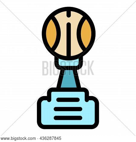 Baseball Trophy Icon. Outline Baseball Trophy Vector Icon Color Flat Isolated