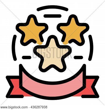 Stars Winner Award Icon. Outline Stars Winner Award Vector Icon Color Flat Isolated