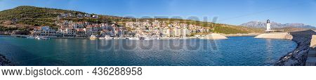 Lustica Bay, Montenegro - October 1, 2021: Panorama Of Lustica Bay Witt Lighthouse, Architecture And