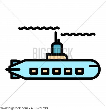 Military Submarine Icon. Outline Military Submarine Vector Icon Color Flat Isolated