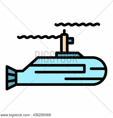 Force Submarine Icon. Outline Force Submarine Vector Icon Thin Line Color Flat On White