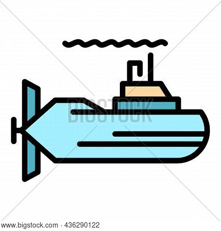 Periscope Submarine Icon. Outline Periscope Submarine Vector Icon Color Flat Isolated
