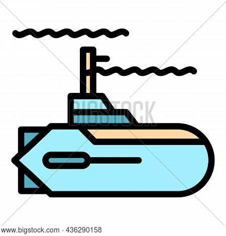 Defence Submarine Icon. Outline Defence Submarine Vector Icon Color Flat Isolated