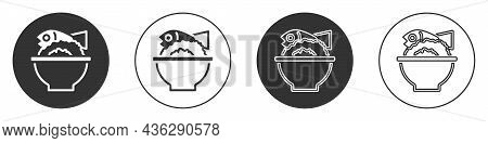 Black Served Fish On A Bowl Icon Isolated On White Background. Circle Button. Vector