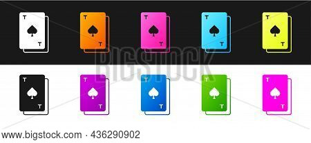 Set Playing Card With Spades Symbol Icon Isolated On Black And White Background. Casino Gambling. Ve