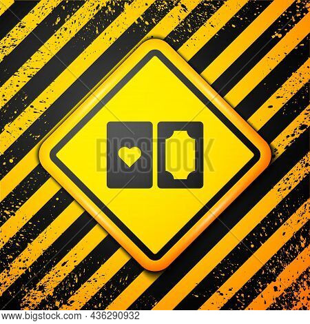 Black Deck Of Playing Cards Icon Isolated On Yellow Background. Casino Gambling. Warning Sign. Vecto