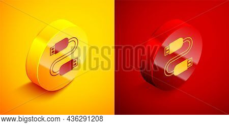 Isometric Usb Cable Cord Icon Isolated On Orange And Red Background. Connectors And Sockets For Pc A