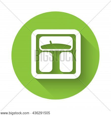 White Bathroom Scales Icon Isolated With Long Shadow. Weight Measure Equipment. Weight Scale Fitness