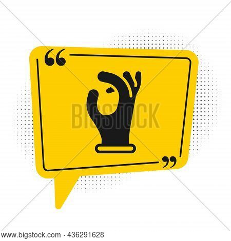 Black Medical Rubber Gloves Icon Isolated On White Background. Protective Rubber Gloves. Yellow Spee