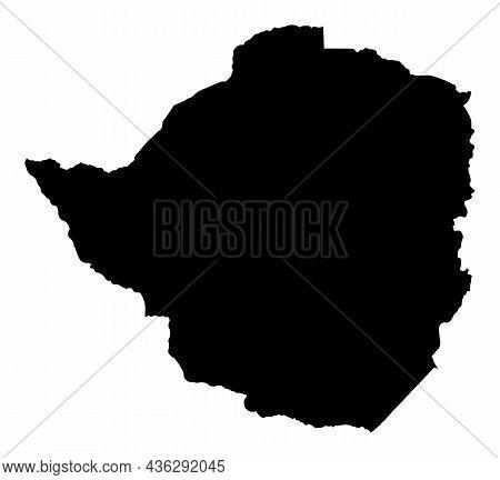 Zimbabwe Silhouette Map Isolated On White Background
