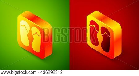 Isometric Flip Flops Icon Isolated On Green And Red Background. Beach Slippers Sign. Square Button.