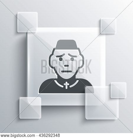 Grey Priest Icon Isolated On Grey Background. Square Glass Panels. Vector