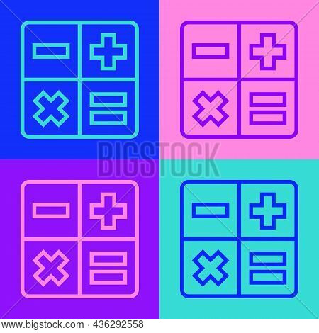Pop Art Line Calculator Icon Isolated On Color Background. Accounting Symbol. Business Calculations
