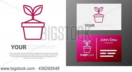Logotype Line Plant In Pot Icon Isolated On White Background. Plant Growing In A Pot. Potted Plant S