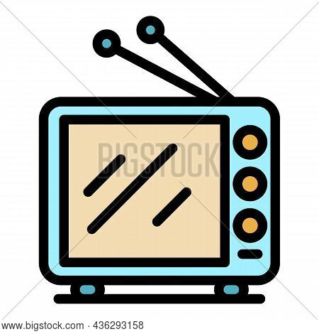 Democracy On Tv Icon. Outline Democracy On Tv Vector Icon Color Flat Isolated
