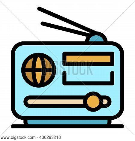 Democracy On Radio Icon. Outline Democracy On Radio Vector Icon Color Flat Isolated