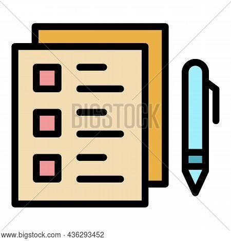 Democracy Checklist Icon. Outline Democracy Checklist Vector Icon Color Flat Isolated