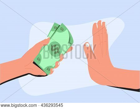 Stop Corruption, Anti Bribery Concept. Hand Offers Money, Other Hand Shows A Gesture Of Refusal. Bus