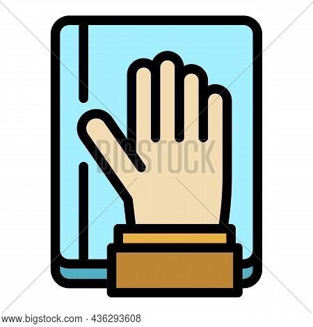 Democracy Hand Up Icon. Outline Democracy Hand Up Vector Icon Color Flat Isolated