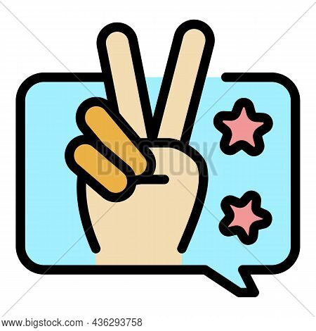 Fingers Victory Icon. Outline Fingers Victory Vector Icon Color Flat Isolated