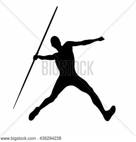 Athlete Thrower Javelin Throw In Decathlon Black Silhouette