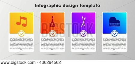 Set Music Note, Tone, Balalaika, Drum Sticks And Grand Piano. Business Infographic Template. Vector
