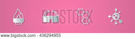 Set Paper Cut Alcohol Or Spirit Burner, Safety Goggle Glasses, Chemical Formula And Molecule Icon. P