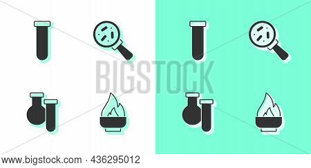 Set Alcohol Or Spirit Burner, Test Tube And Flask, And Microorganisms Under Magnifier Icon. Vector