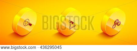 Set Isometric Microorganisms Under Magnifier, Microscope And Chemical Formula For H2o Icon. Vector