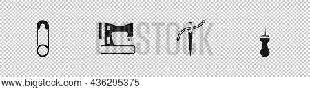 Set Safety Pin, Sewing Machine, Needle With Thread And Awl Tool Icon. Vector