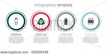 Set Safety Pin, Sewing Chalk, Thread On Spool And Needle For Sewing. Business Infographic Template.