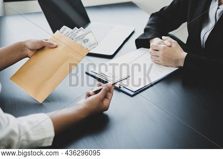 Businessmen Make An Agreement With The Money Proposed His Partner To Bribe In The Company. The Conce