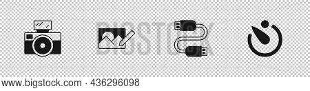 Set Photo Camera With Flash, Retouching, Usb Cable Cord And Camera Timer Icon. Vector