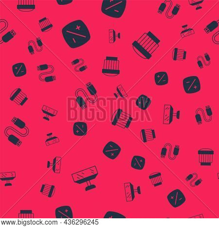 Set Softbox Light, Exposure Compensation, Usb Cable Cord And Camera Photo Lens On Seamless Pattern.