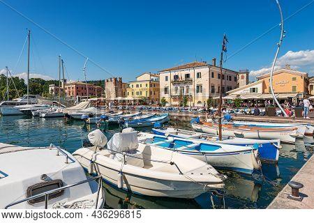 Bardolino, Italy - May 26, 2021: Port Of The Lake Garda (lago Di Garda) With Many Boats Moored. Smal