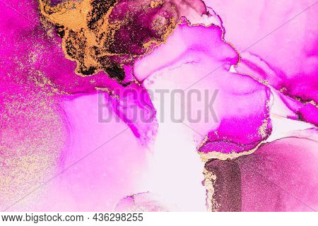 Pink Gold Abstract Background Of Marble Liquid Ink Art Painting On Paper . Image Of Original Artwork