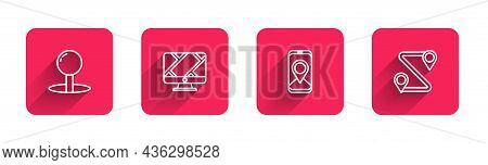 Set Line Push Pin, Monitor With Location Marker, City Map Navigation And Route With Long Shadow. Red