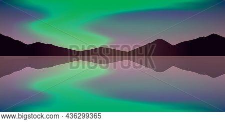 Aurora Borealis Beautiful Polar Lights By The Lake