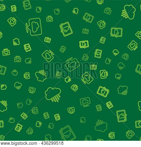 Set Line Location Cloud, Cloud With Rain And Weather Forecast On Seamless Pattern. Vector