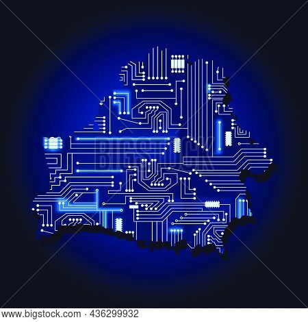 Contour Map Of Belarus With A Technological Electronics Circuit.
