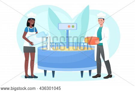 Production Of Dairy Products Concept. Woman Pours Milk Into Device For Making Cheese. Man Holds Read