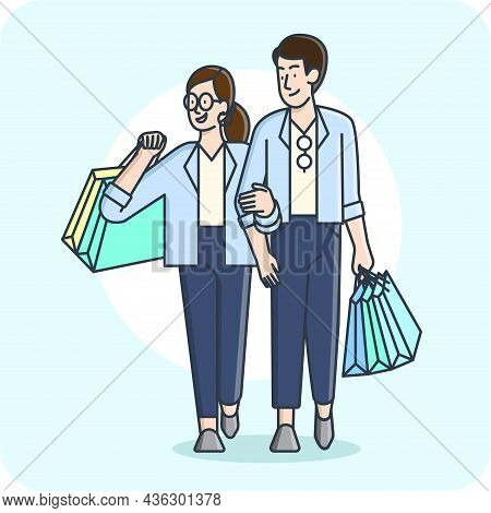 A Man And A Woman Walk Shopping Happily 2d Character Activity, Vector Design And Isolated Background