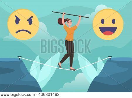 Way To Good Mood Concept. Woman Balances On Rope To Achieve Emotional Balance. Mental And Psychologi
