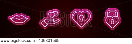 Set Line Smiling Lips, Heart Hand, With Keyhole And Castle The Shape Of Heart. Glowing Neon Icon. Ve