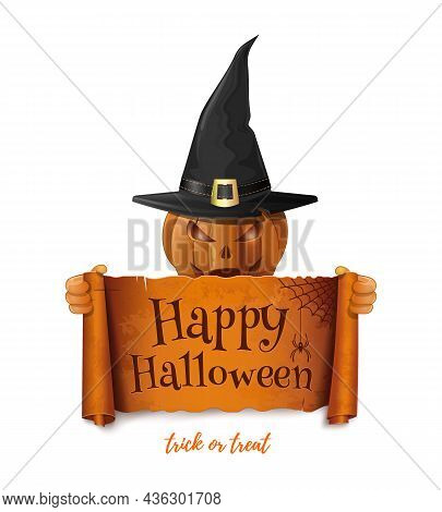 Halloween Design With Jack-o-lantern. Cheerful Pumpkin Holds A Scroll With The Inscription - Happy H