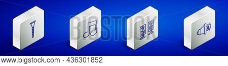 Set Isometric Line Clarinet, Music Note, Tone, Stereo Speaker And Speaker Volume Icon. Vector