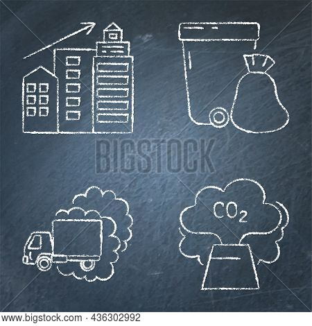 Chalkboard Icon Set - Causes Of Climate Change